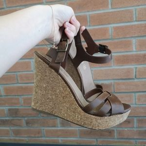 Leather cork wedge sandals